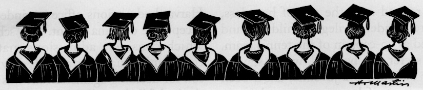 row of successful female graduates (rear view)